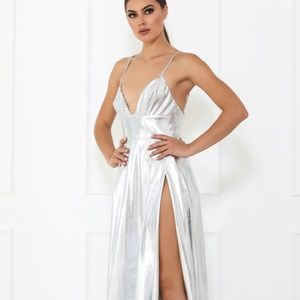 Abyss By Abby Silver foil slit maxi dress gown XS